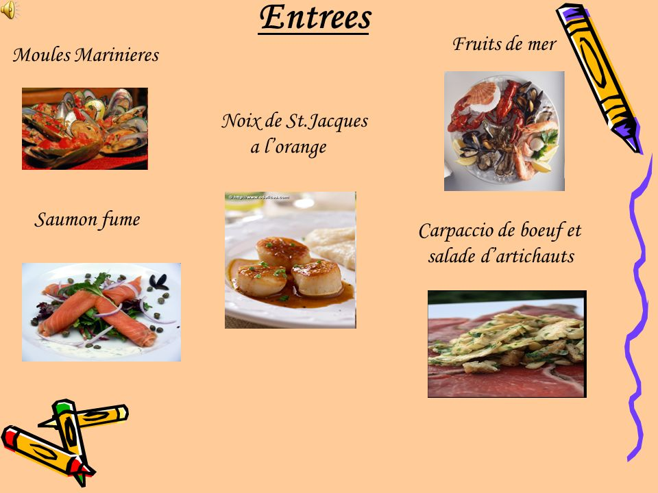 Entrees Fruits de mer Moules Marinieres Noix de St.Jacques a l'orange
