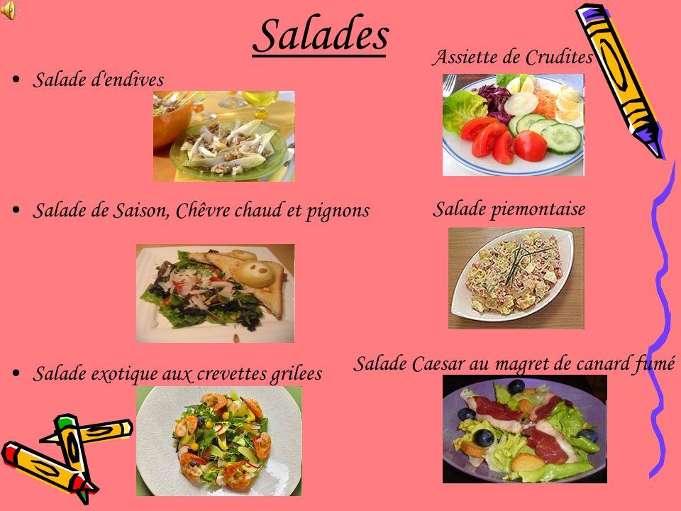 Salades Assiette de Crudites Salade d endives
