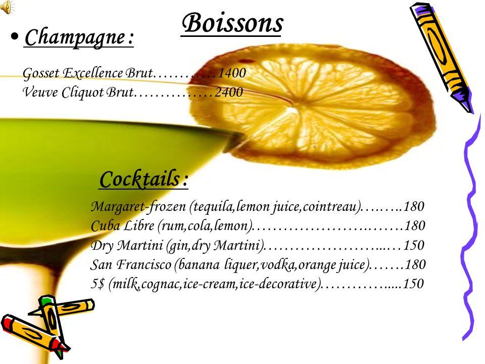 Boissons Champagne : Cocktails : Gosset Excellence Brut…………1400