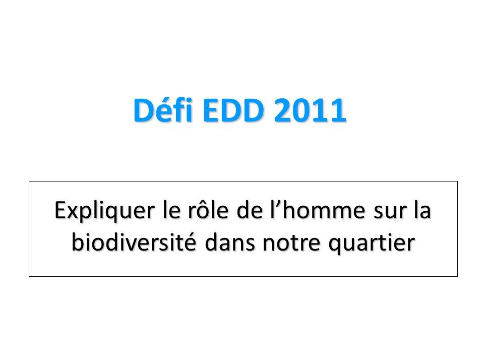 Défi EDD 2011 Expliquer le rôle de l'homme sur la