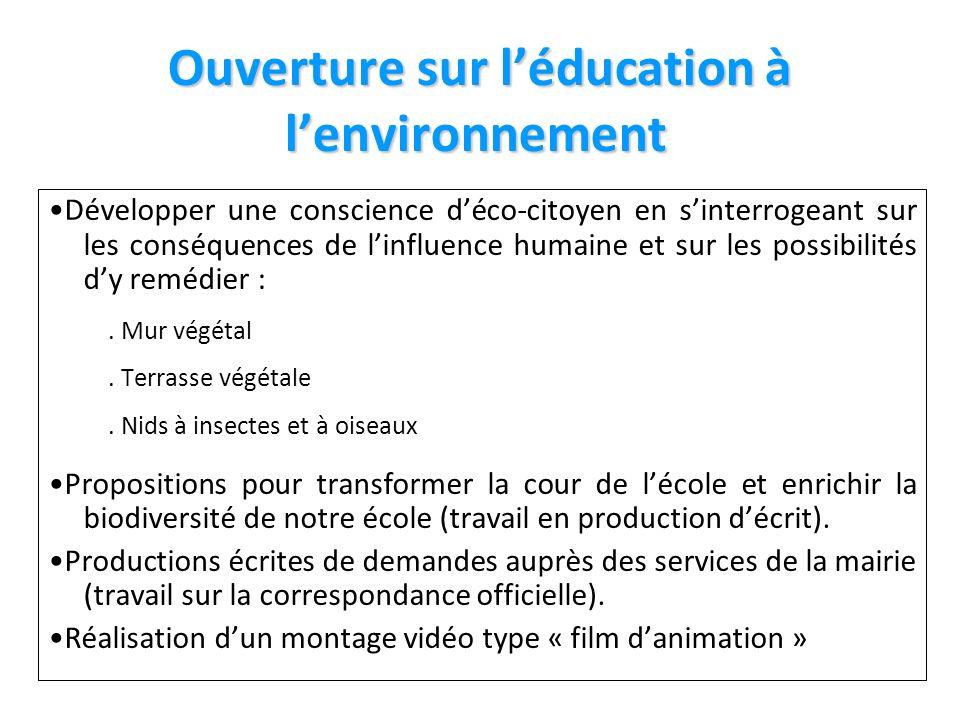 Ouverture sur l'éducation à l'environnement