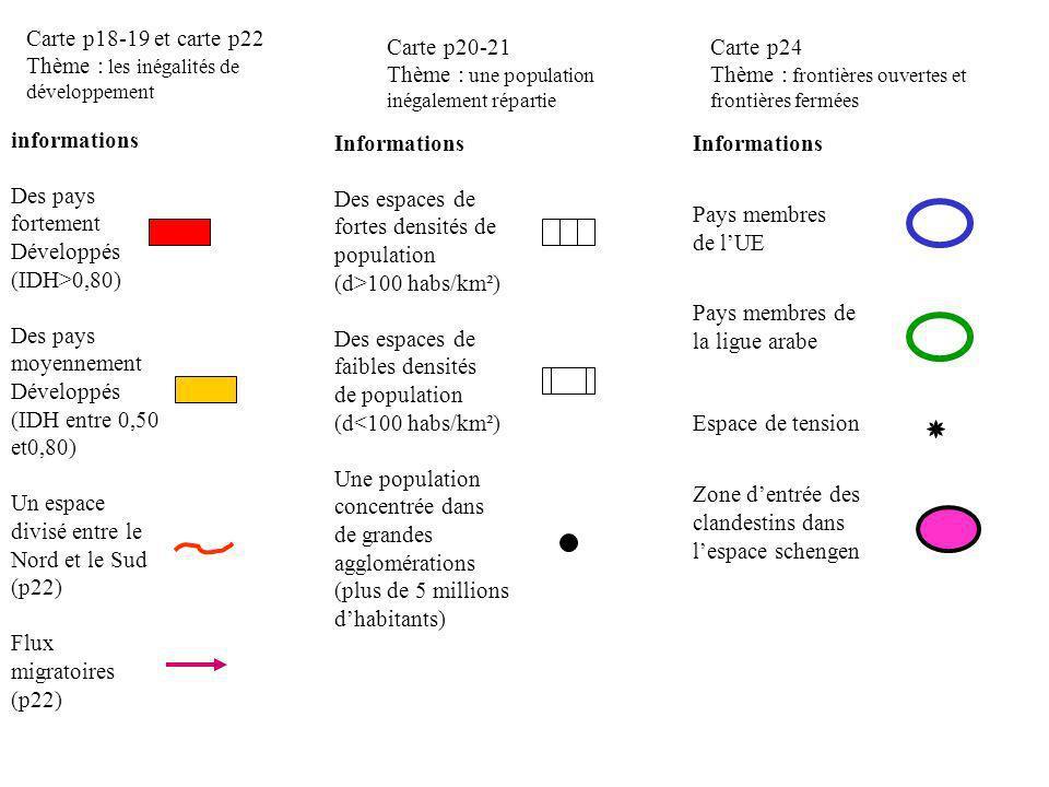 Carte p18-19 et carte p22 Thème : les inégalités de développement. Carte p20-21. Thème : une population inégalement répartie.