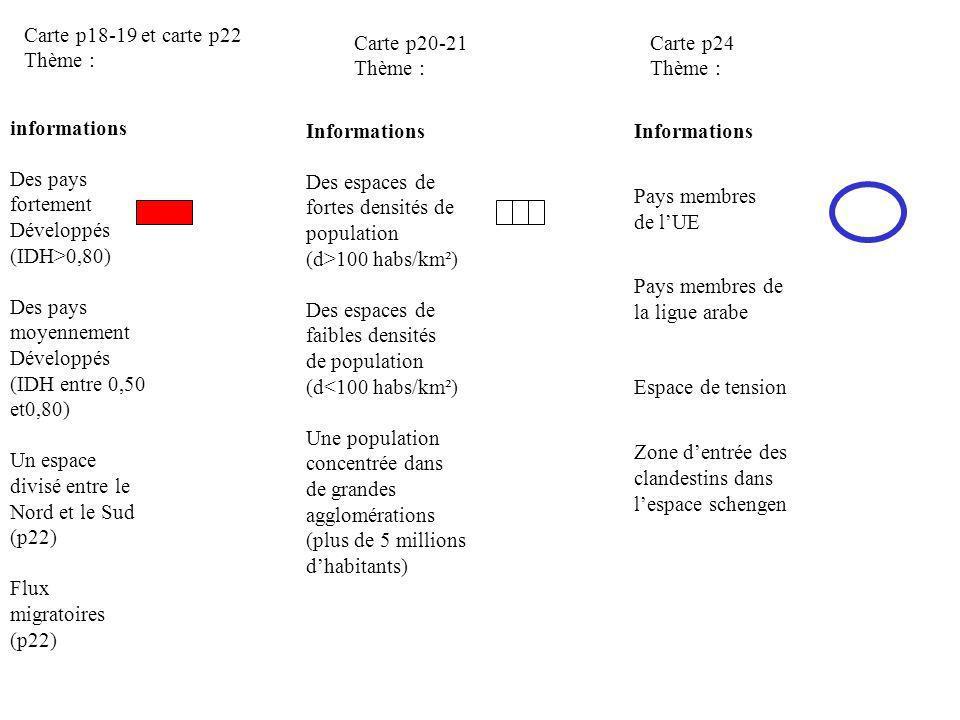 Carte p18-19 et carte p22 Thème : Carte p20-21. Thème : Carte p24. Thème : informations. Des pays fortement.