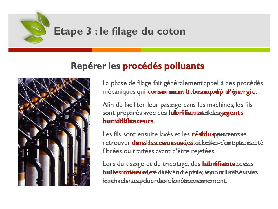 Repérer les procédés polluants Repérer les procédés polluants