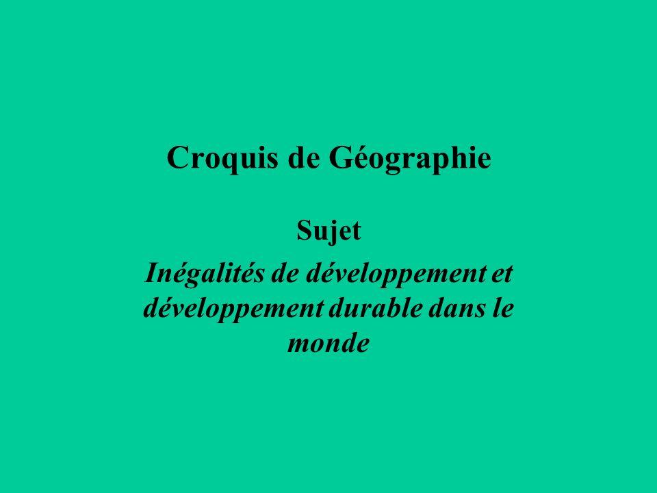Inégalités de développement et développement durable dans le monde