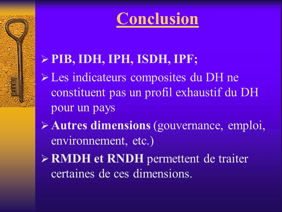 Conclusion PIB, IDH, IPH, ISDH, IPF;