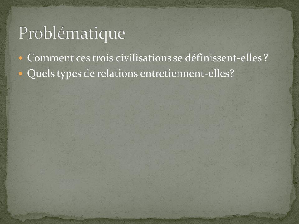 Problématique Comment ces trois civilisations se définissent-elles