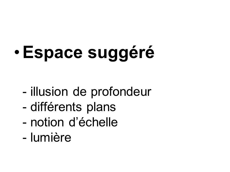 Espace suggéré - illusion de profondeur - différents plans - notion d'échelle - lumière