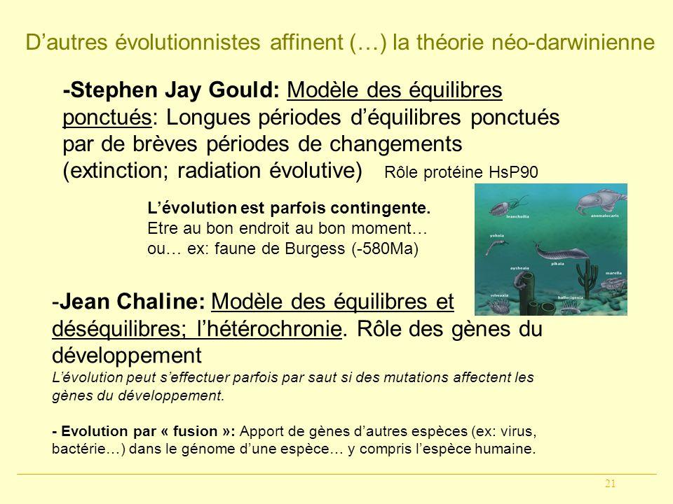 D'autres évolutionnistes affinent (…) la théorie néo-darwinienne