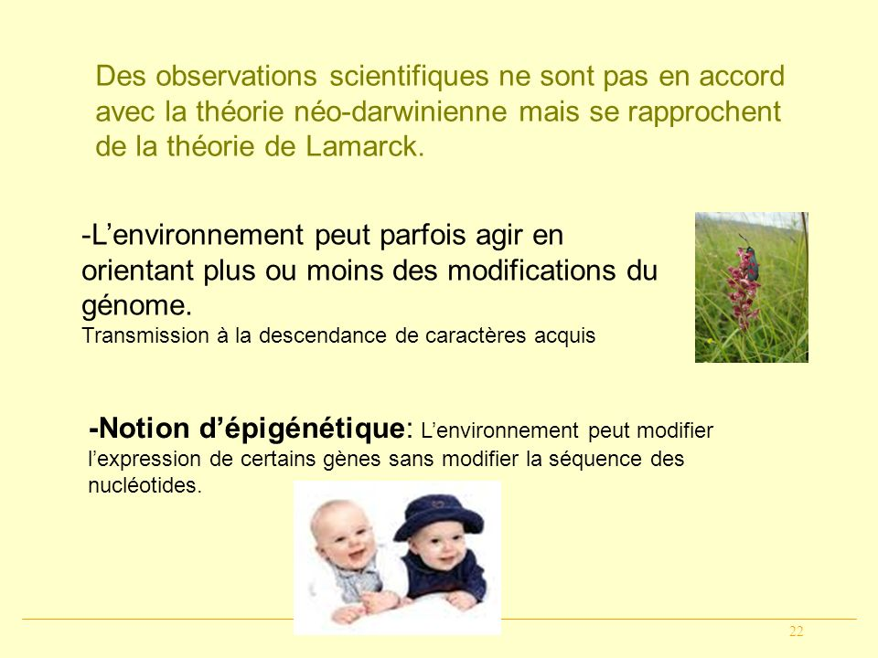 Des observations scientifiques ne sont pas en accord avec la théorie néo-darwinienne mais se rapprochent de la théorie de Lamarck.