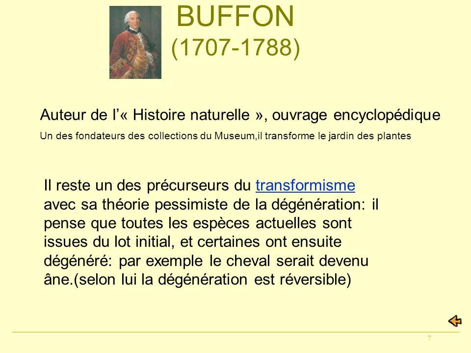 BUFFON (1707-1788) Auteur de l'« Histoire naturelle », ouvrage encyclopédique.