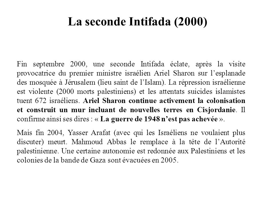 La seconde Intifada (2000)