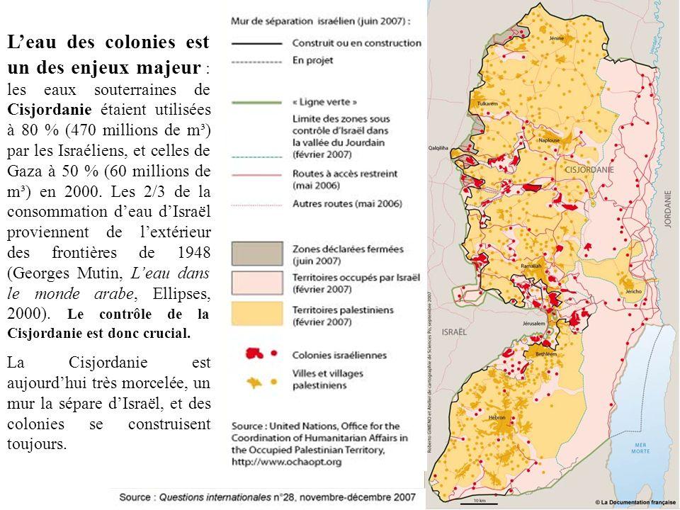 L'eau des colonies est un des enjeux majeur : les eaux souterraines de Cisjordanie étaient utilisées à 80 % (470 millions de m³) par les Israéliens, et celles de Gaza à 50 % (60 millions de m³) en 2000. Les 2/3 de la consommation d'eau d'Israël proviennent de l'extérieur des frontières de 1948 (Georges Mutin, L'eau dans le monde arabe, Ellipses, 2000). Le contrôle de la Cisjordanie est donc crucial.
