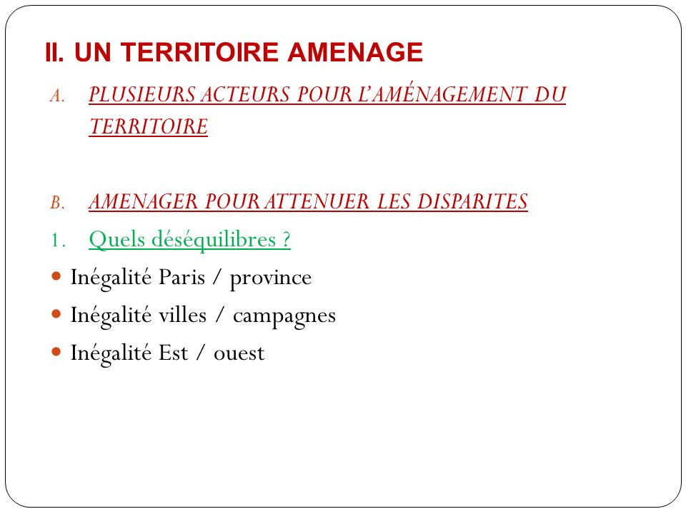 II. un territoire Amenage