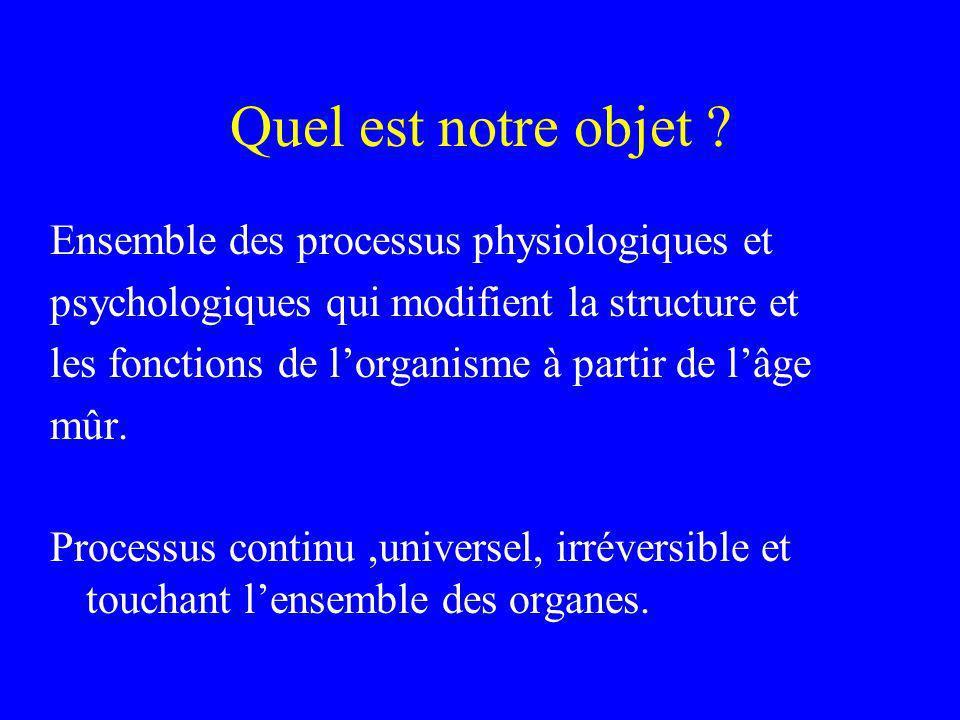 Quel est notre objet Ensemble des processus physiologiques et