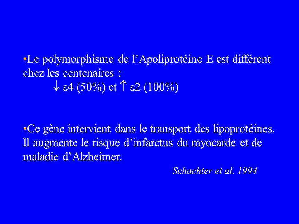 Le polymorphisme de l'Apoliprotéine E est différent chez les centenaires :  4 (50%) et  2 (100%)