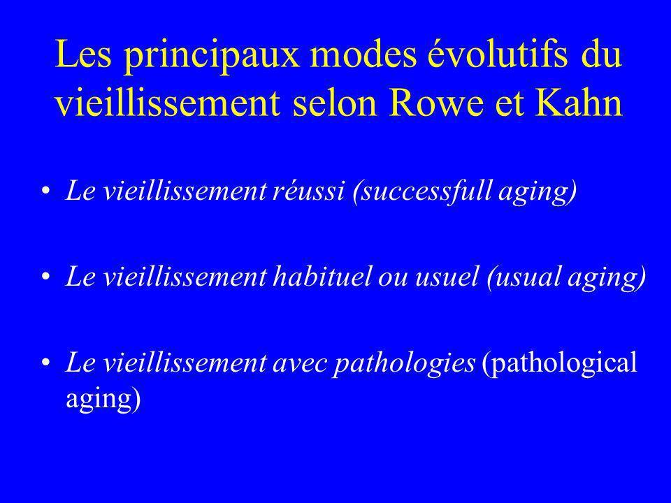 Les principaux modes évolutifs du vieillissement selon Rowe et Kahn