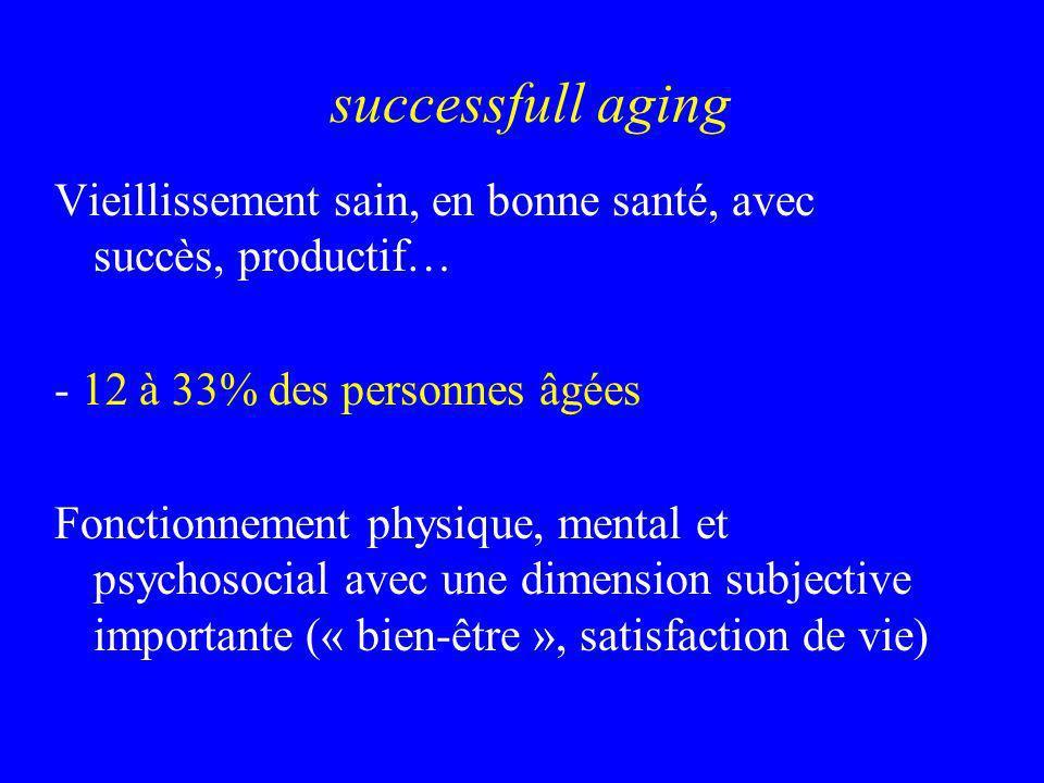 successfull aging Vieillissement sain, en bonne santé, avec succès, productif… - 12 à 33% des personnes âgées.