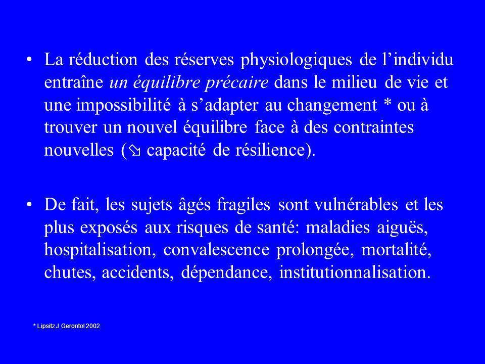 La réduction des réserves physiologiques de l'individu entraîne un équilibre précaire dans le milieu de vie et une impossibilité à s'adapter au changement * ou à trouver un nouvel équilibre face à des contraintes nouvelles ( capacité de résilience).
