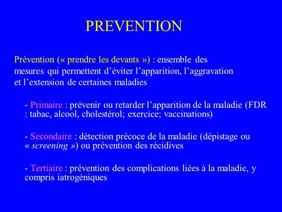 PREVENTION Prévention (« prendre les devants ») : ensemble des