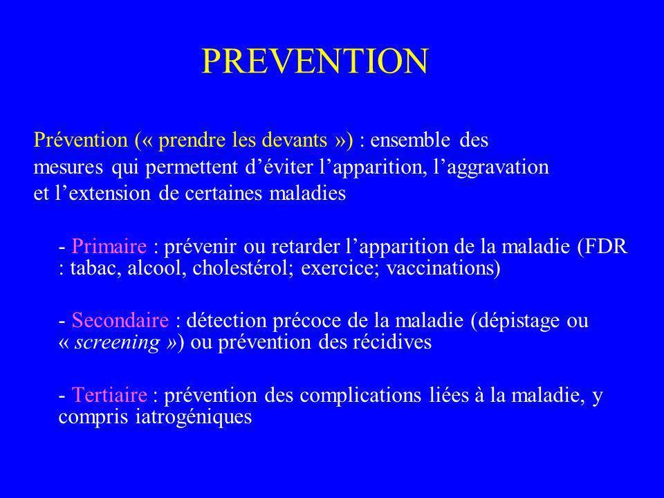 PREVENTION Prévention (« prendre les devants ») : ensemble des