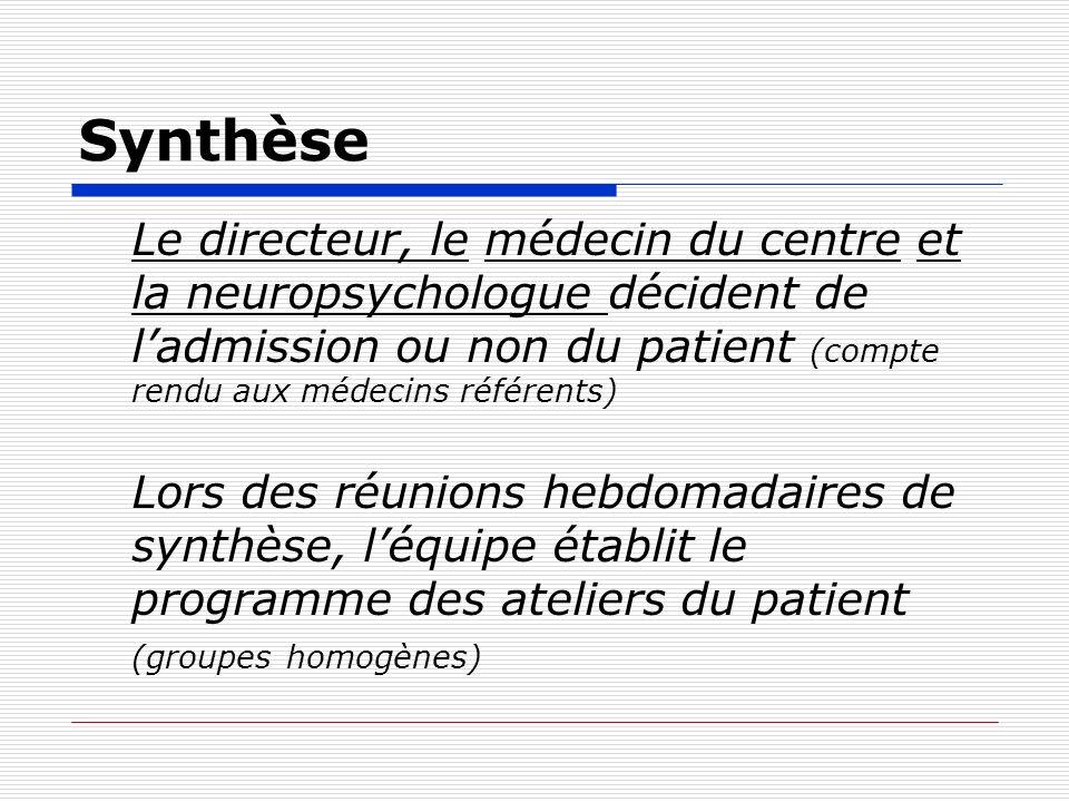 Synthèse Le directeur, le médecin du centre et la neuropsychologue décident de l'admission ou non du patient (compte rendu aux médecins référents)