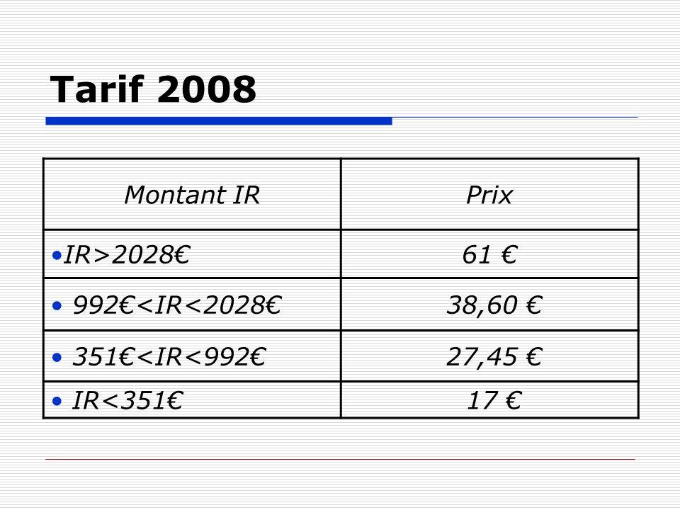 Tarif 2008 Montant IR Prix IR>2028€ 61 € 992€<IR<2028€