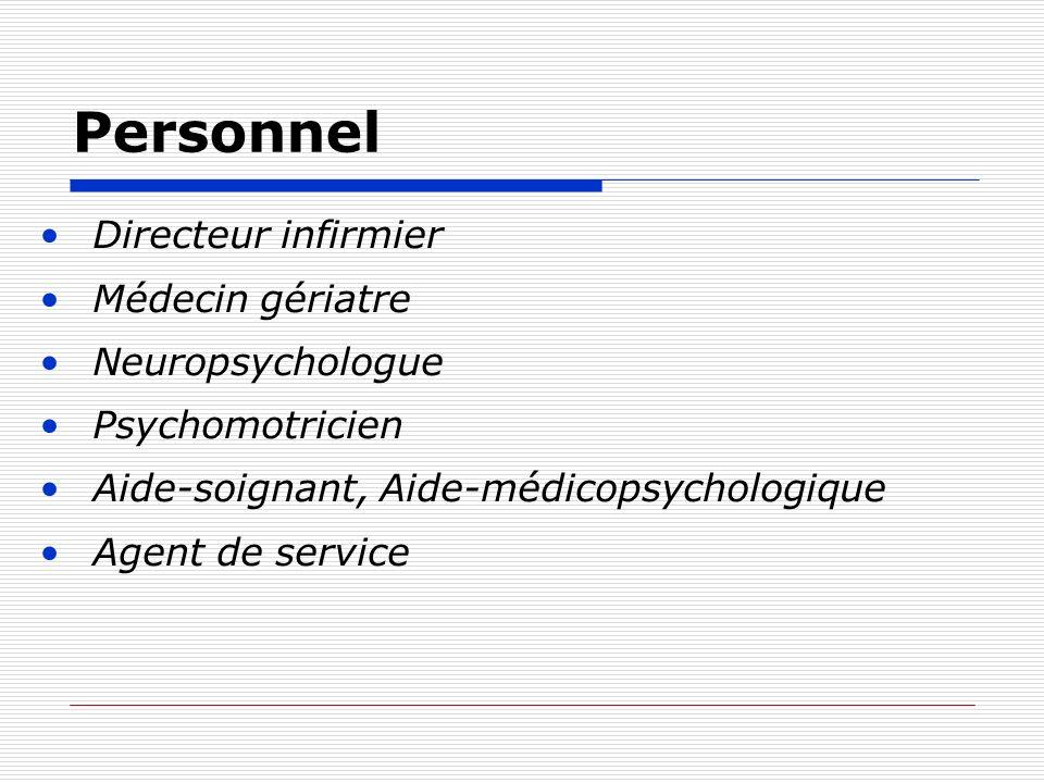 Personnel Directeur infirmier Médecin gériatre Neuropsychologue