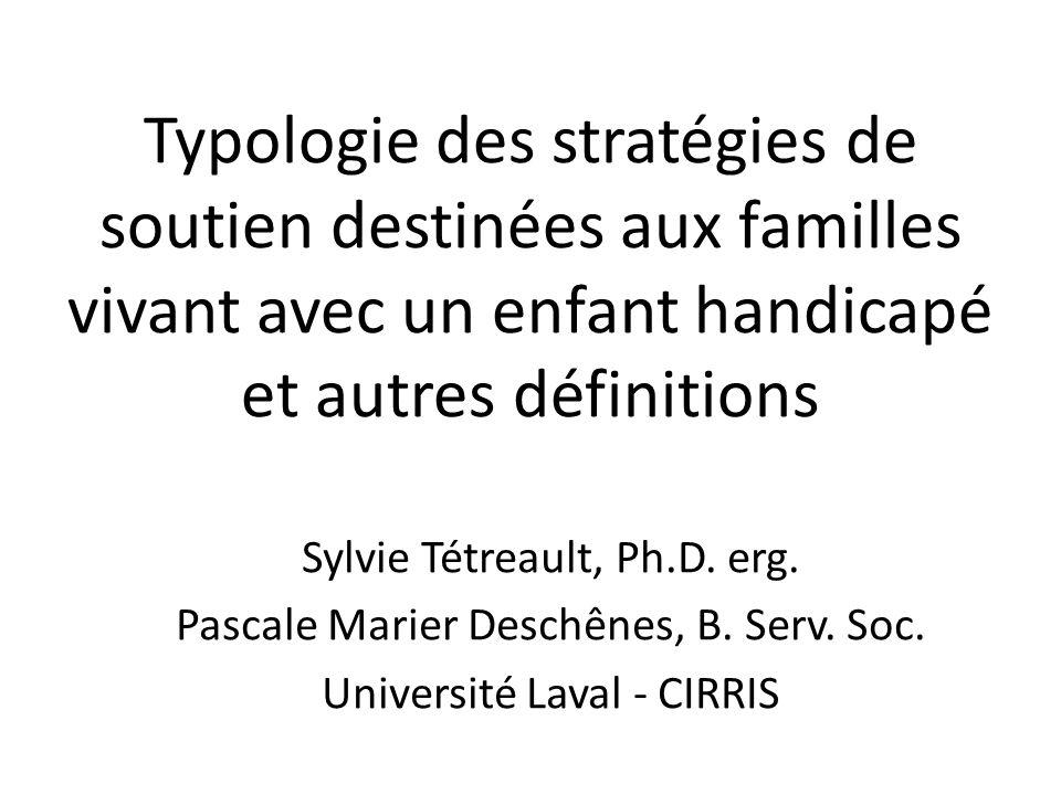 Typologie des stratégies de soutien destinées aux familles vivant avec un enfant handicapé et autres définitions
