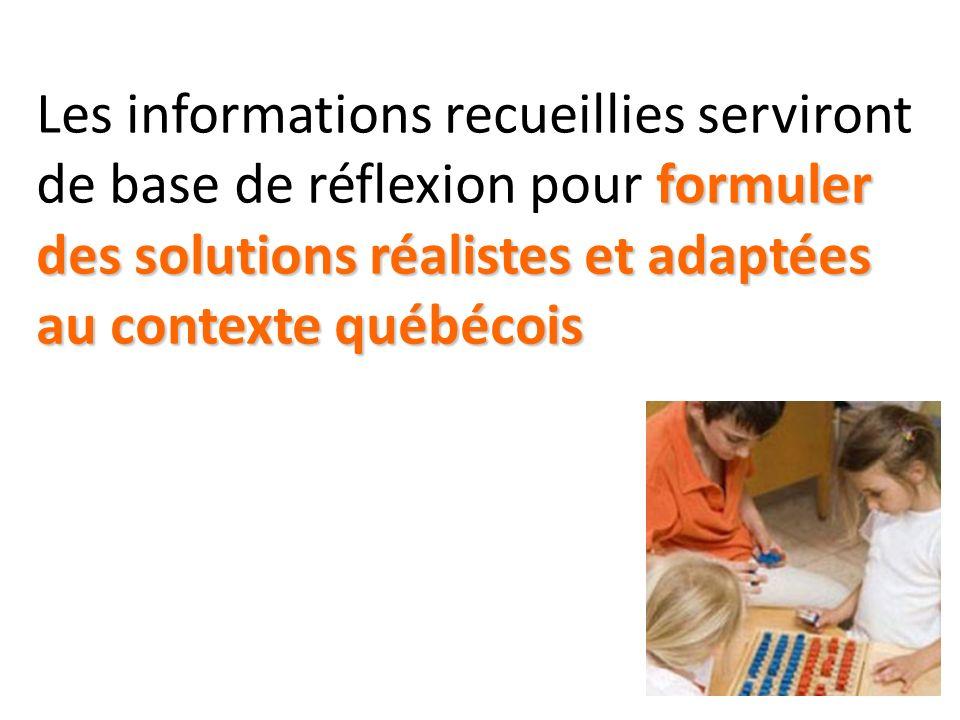 Les informations recueillies serviront de base de réflexion pour formuler des solutions réalistes et adaptées au contexte québécois