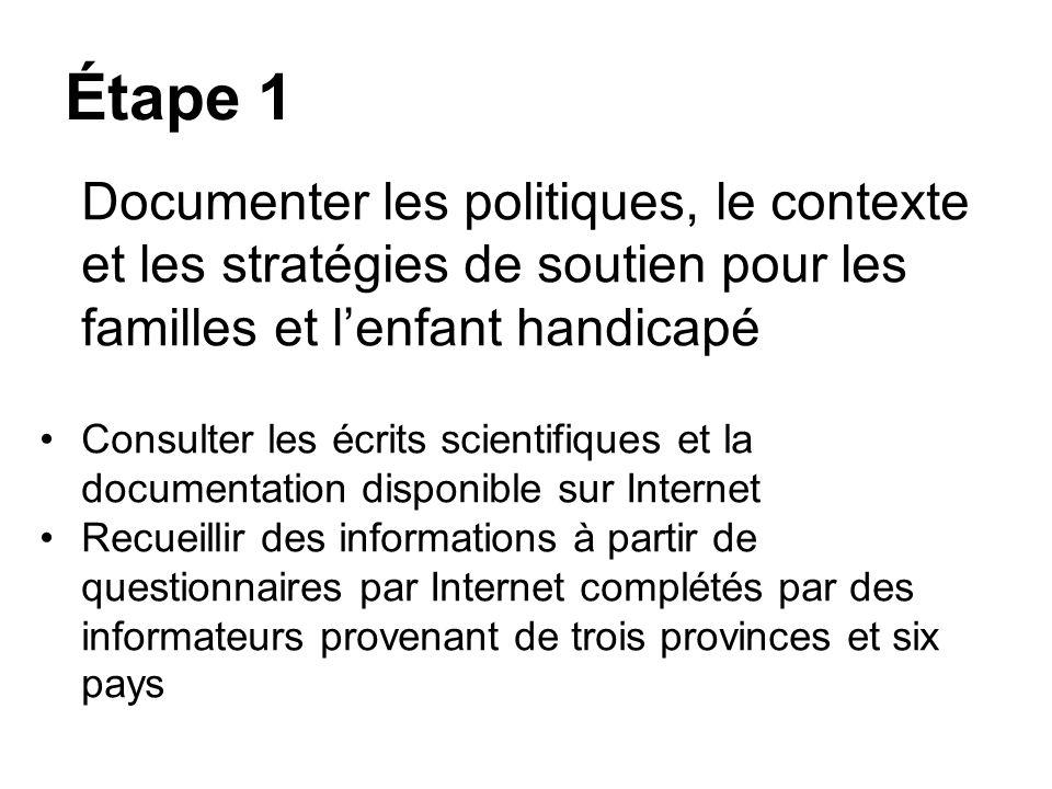 Étape 1 Documenter les politiques, le contexte et les stratégies de soutien pour les familles et l'enfant handicapé.
