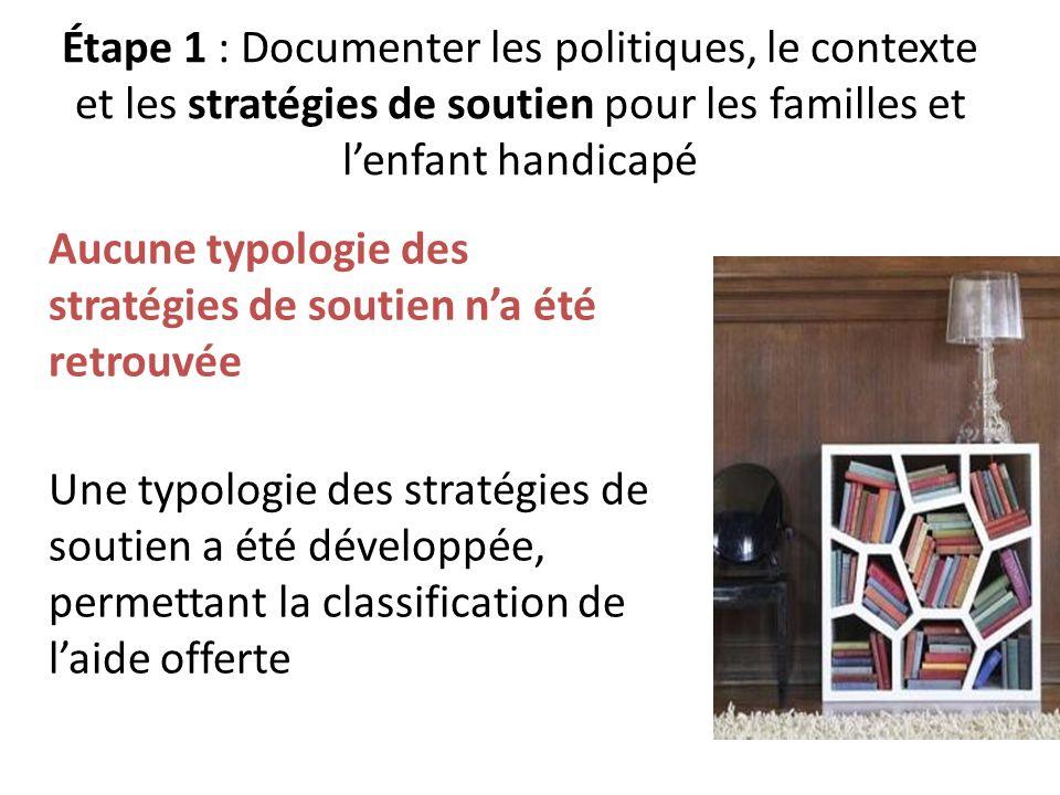 Étape 1 : Documenter les politiques, le contexte et les stratégies de soutien pour les familles et l'enfant handicapé