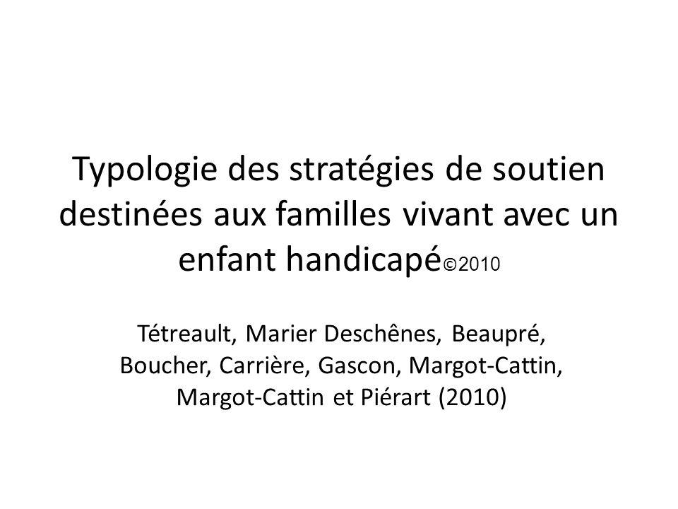 Typologie des stratégies de soutien destinées aux familles vivant avec un enfant handicapé©2010