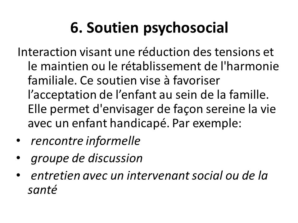 6. Soutien psychosocial rencontre informelle groupe de discussion