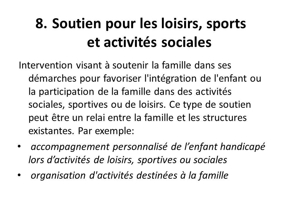 Soutien pour les loisirs, sports et activités sociales