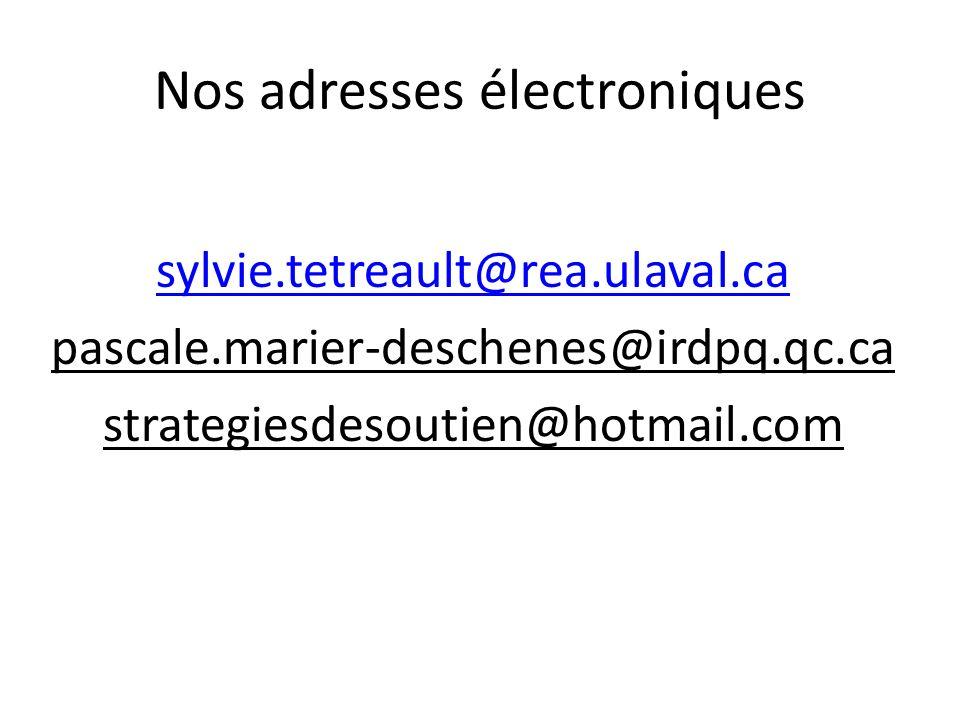 Nos adresses électroniques