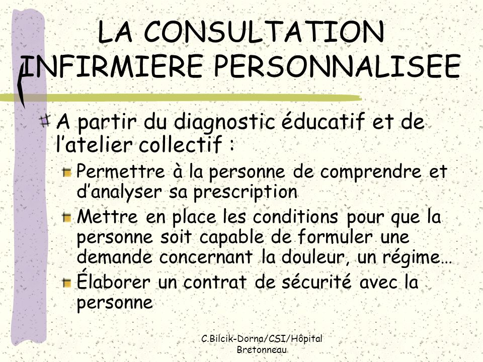 LA CONSULTATION INFIRMIERE PERSONNALISEE