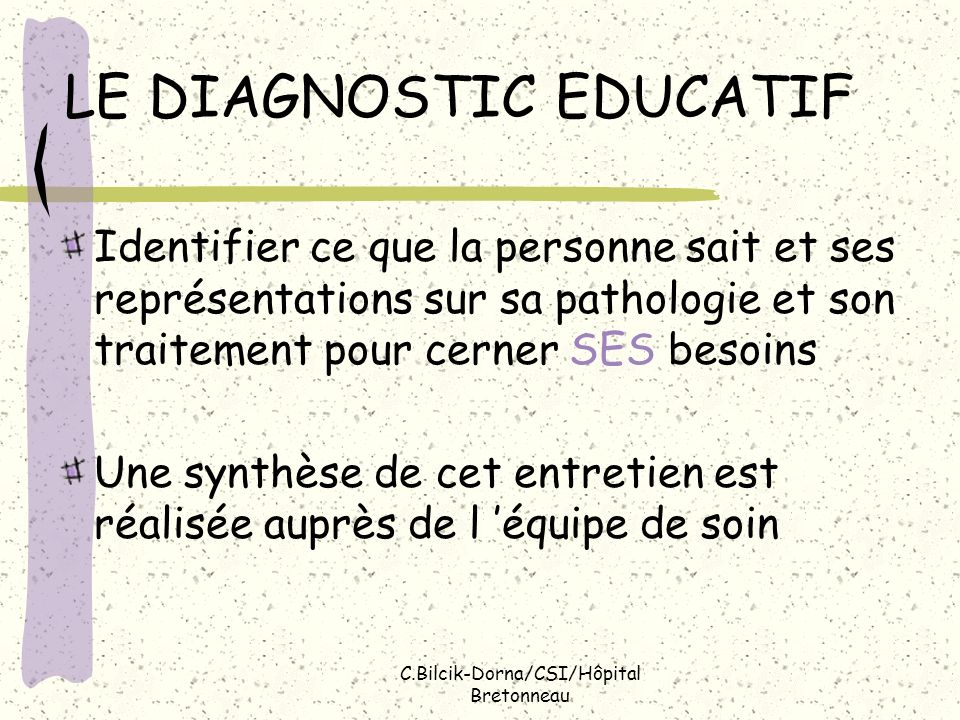 LE DIAGNOSTIC EDUCATIF