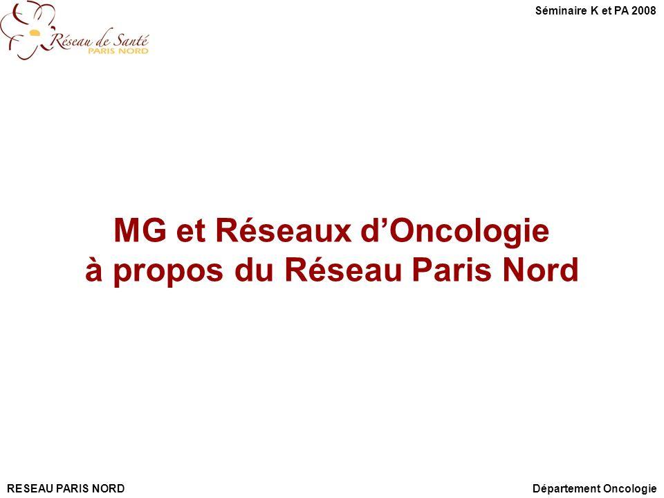MG et Réseaux d'Oncologie à propos du Réseau Paris Nord