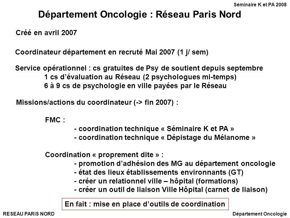 Département Oncologie : Réseau Paris Nord
