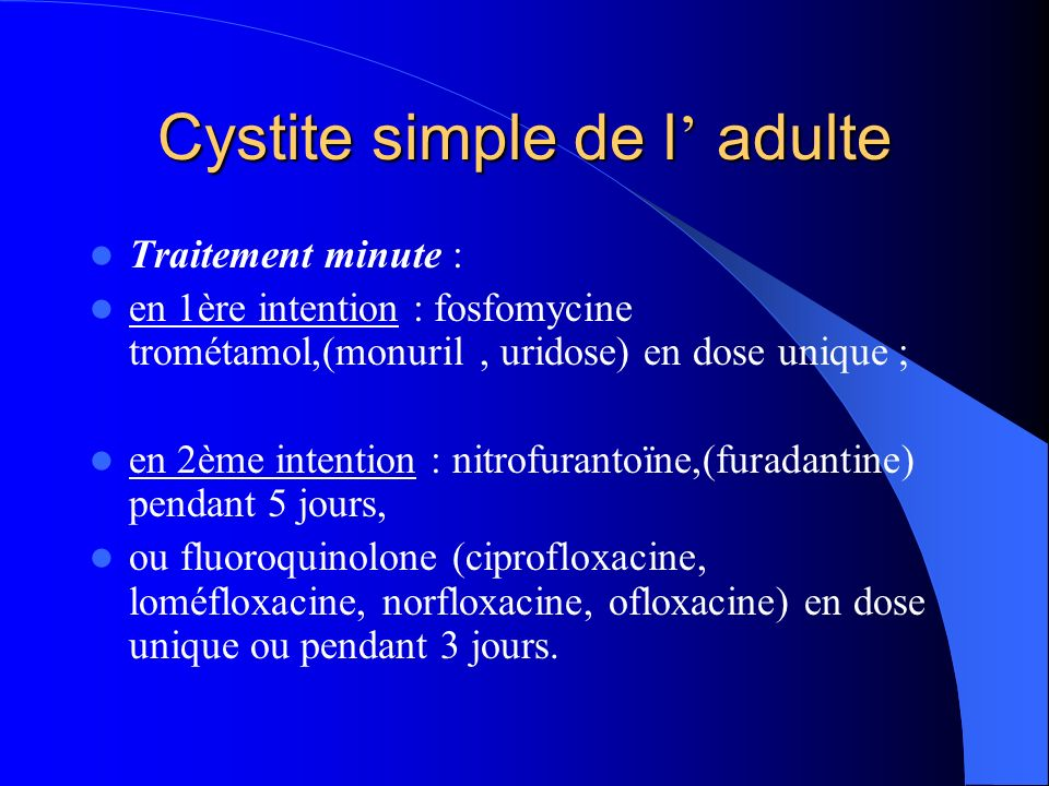 Cystite simple de l' adulte