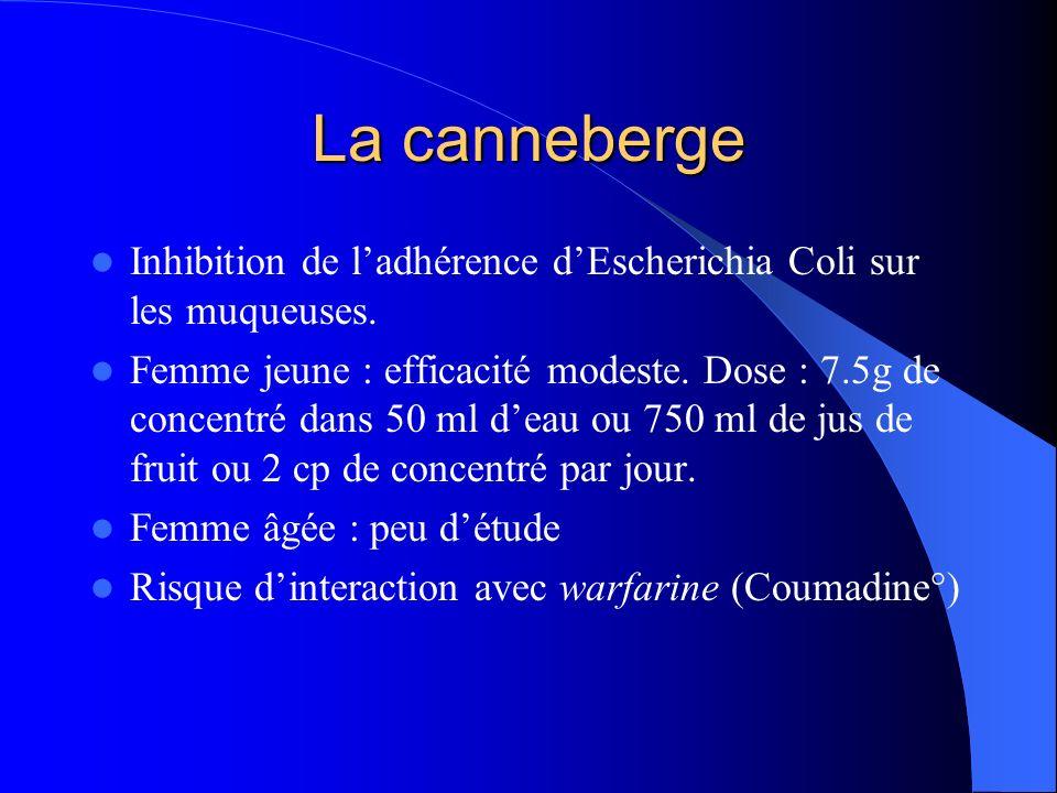 La canneberge Inhibition de l'adhérence d'Escherichia Coli sur les muqueuses.