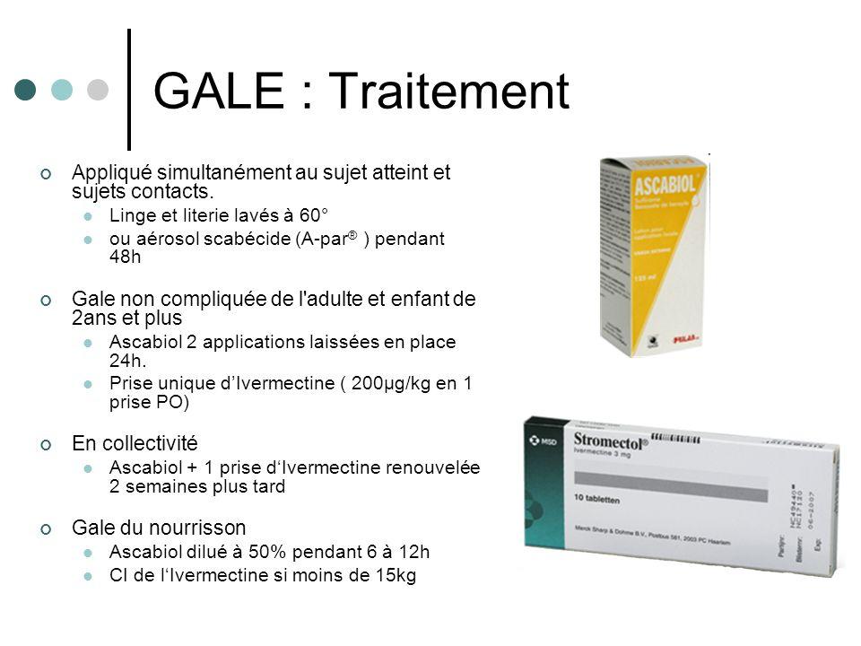 GALE : Traitement Appliqué simultanément au sujet atteint et sujets contacts. Linge et literie lavés à 60°