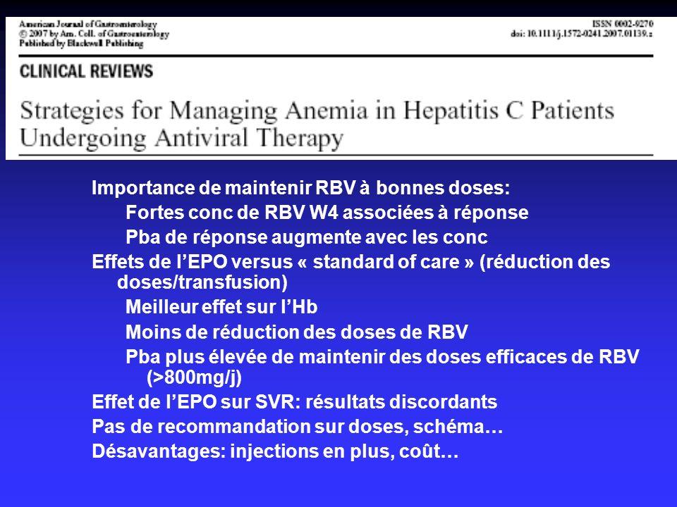 Importance de maintenir RBV à bonnes doses: