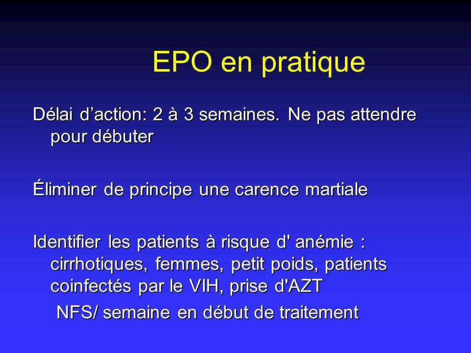 EPO en pratique Délai d'action: 2 à 3 semaines. Ne pas attendre pour débuter. Éliminer de principe une carence martiale.