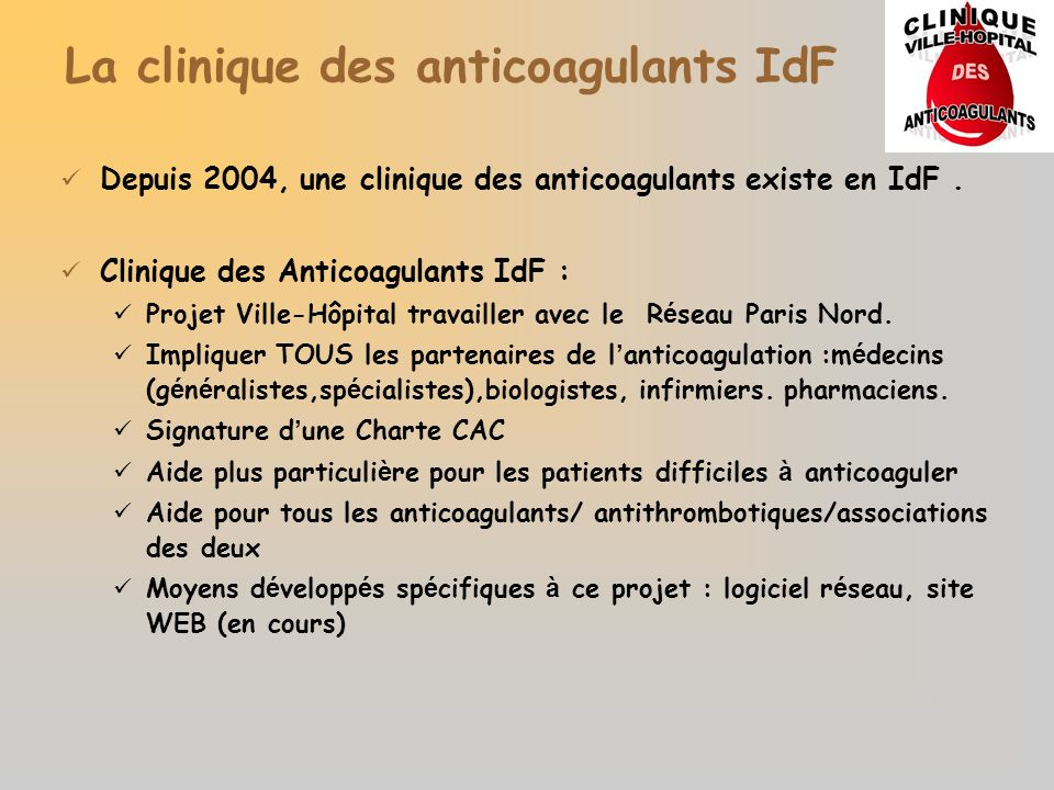 La clinique des anticoagulants IdF