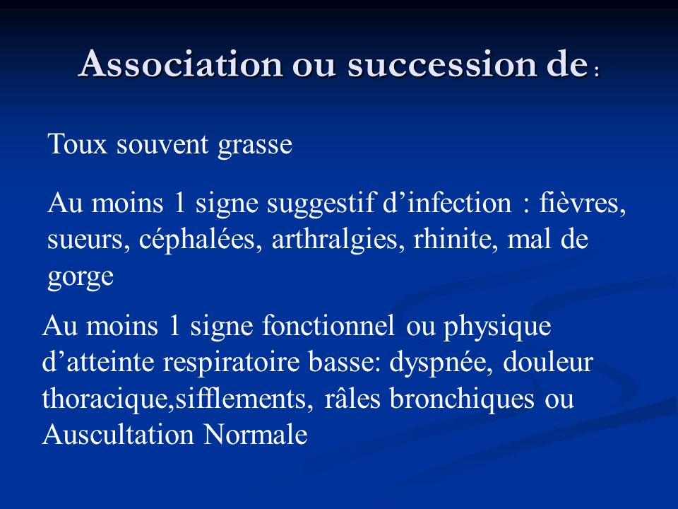 Association ou succession de :