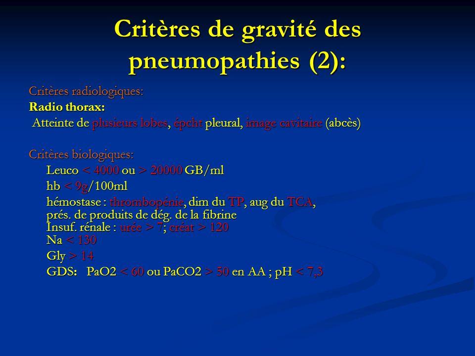 Critères de gravité des pneumopathies (2):