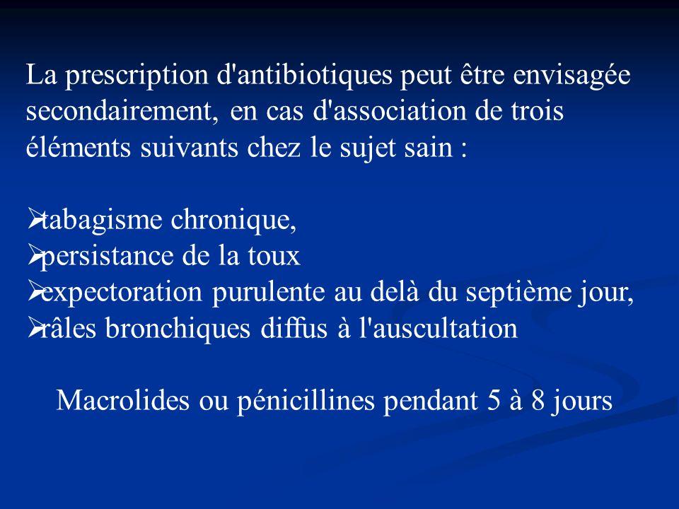 La prescription d antibiotiques peut être envisagée secondairement, en cas d association de trois éléments suivants chez le sujet sain :