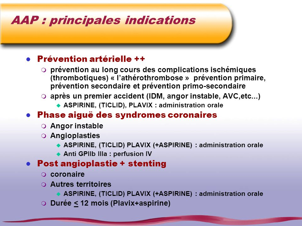 AAP : principales indications
